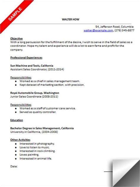 Resume Words Coordinate Sales Coordinator Resume Sle Resume Exles