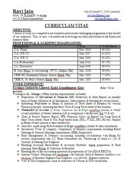 format of resume for freshers in bcom ca bcom experienced professional resume format