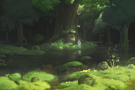 wallpaper anime girl forest water trees traditional