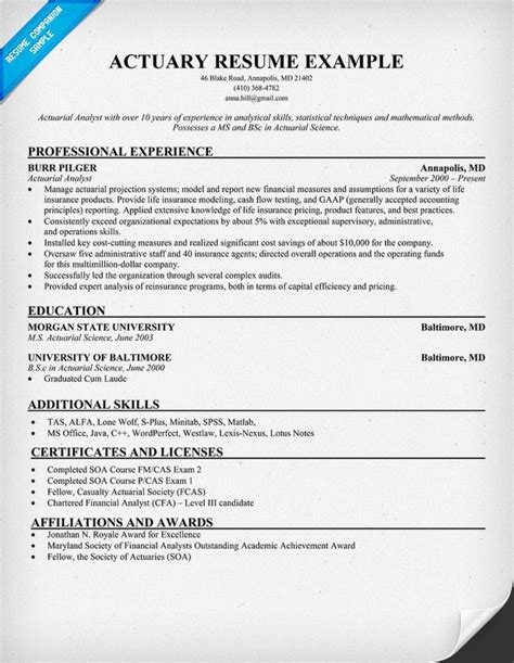 actuary resume template actuary resume resume sles across all industries