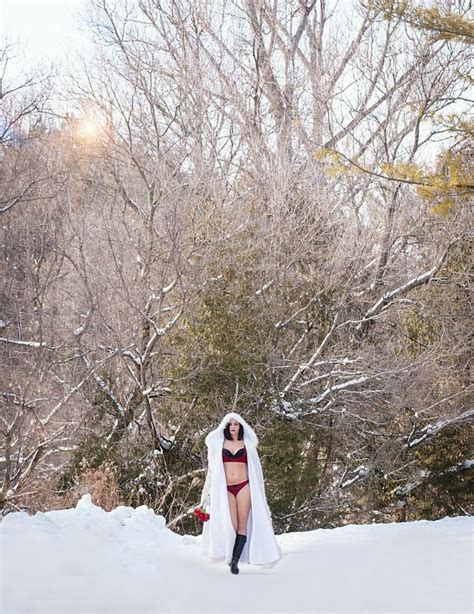 red white and snow outdoor winter boudoir modern makeup