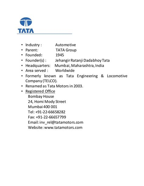 Tata Motors Project For Mba by Tata Motors Project