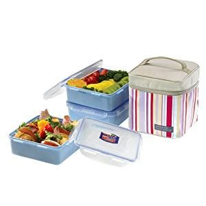 Earth Color 4 Lock Lunch Box Pink lock lock square lunch box 3 set with