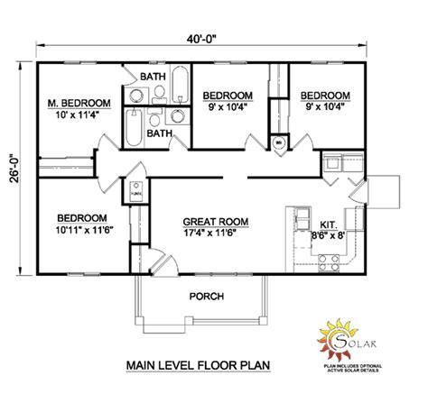 4 Bedroom Ranch Floor Plans House Plan 94451 At Familyhomeplans Com