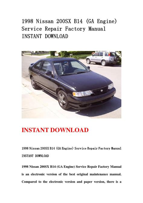 1998 nissan 200sx auto repair manual free 1998 nissan sentra sr service repair workshop manual 1998 nissan 200sx b14 ga engine service repair factory manual instant download by usejn issuu