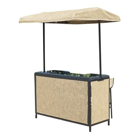 Gazebo With Bar Table Outsunny 3 Outdoor Bar Table And Stool Set With Canopy Garden Patio Furniture Beige Aosom Ca
