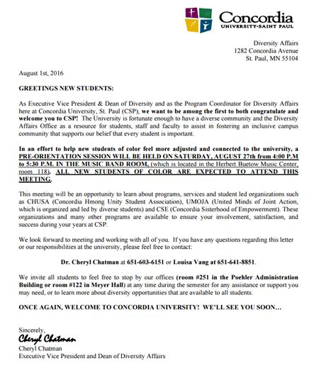 Letter Of Intent Concordia Sle Welcome Letter About Diversity Sparks Backlash At
