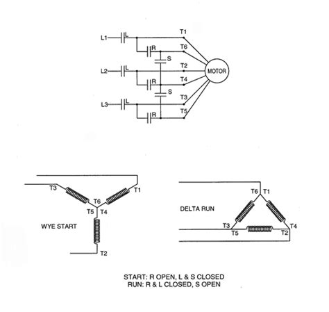 wye delta starter wiring diagram closed transition wye