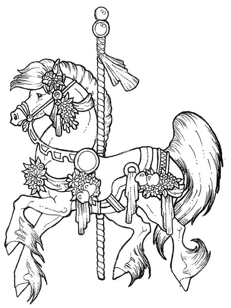 coloring pages of carousel horses free carousel coloring pages