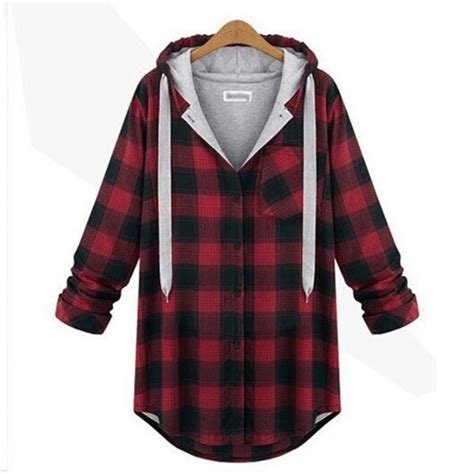 Hooded Plaid Sweatshirt jacket coat sweatshirt hooded outerwear jumper