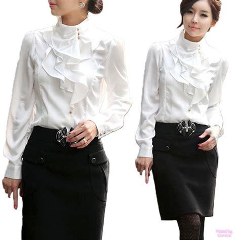 beige purple white womens office shirt work silky