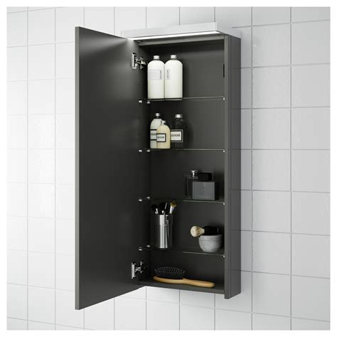 High Gloss Bathroom Storage Godmorgon Wall Cabinet With 1 Door High Gloss Grey 40x14x96 Cm Ikea