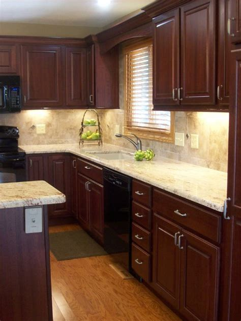 cherry cabinets white appliances home design ideas wild cherry traditional kitchen chicago by west