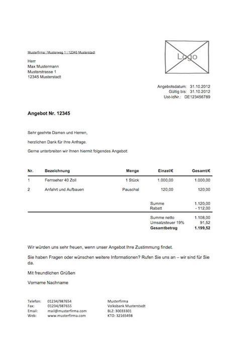 Angebot Vorlage Bau angebotvorlage kostenlos zum lexoffice