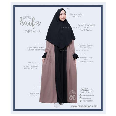 Flowy Khimar haifa set khimar 12 black grey hijabamina
