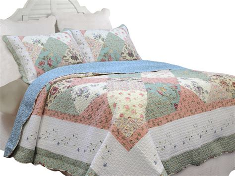 Patchwork Grace - grace celadon patchwork 100 cotton 3 quilt set