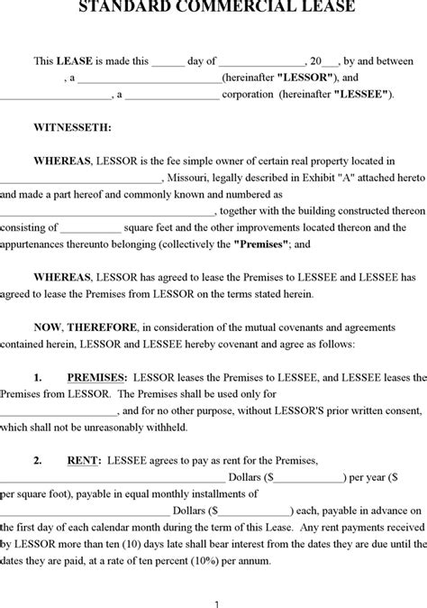 Free Missouri Commercial Lease Agreement Doc 65kb 15 Page S Missouri Lease Agreement Template