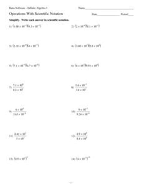 Operations With Scientific Notation Worksheet Answers