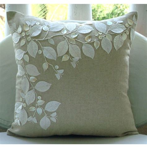 Pillow Covers 20x20 by Handmade Rail Of Leaves Of Pearls Pillows Cover Ecru