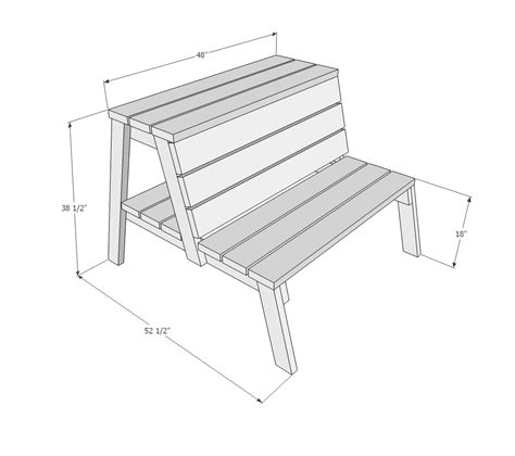 picnic table bench height ana white firepit benches with table and storage diy
