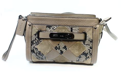 coach new gray swagger leather wristlet patchwork crossbody bag purse 350 025 ebay