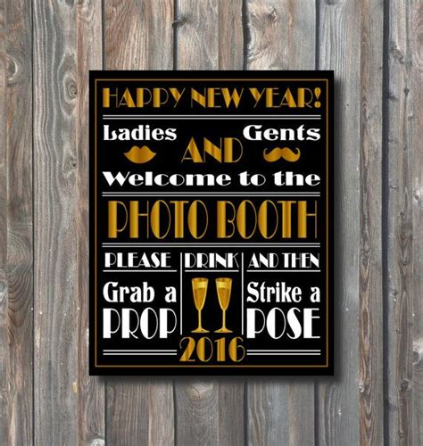 new year year signs new years photo booth sign printable new by