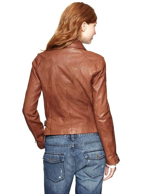 Gap Quilted Jacket by Gap Quilted Leather Moto Jacket In Brown Cognac Leather