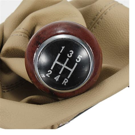 Wooden Gear Shift Knobs by Beige 5 Speed Gear Wooden Shift Knob Gaitor Boot For 98 04