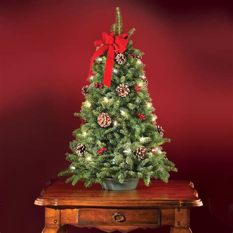 tabletop trees with lights the freshly cut prelit tabletop tree hammacher schlemmer