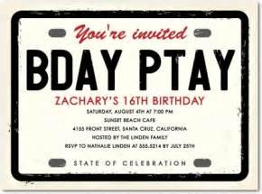 license plate birthday party invitations in ecru hello