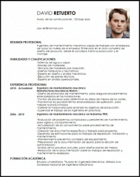 Modelo Curriculum Ingeniero Mecanico Modelo Curriculum Vitae Ingeniero De Mantenimiento Mec 225 Nico Livecareer