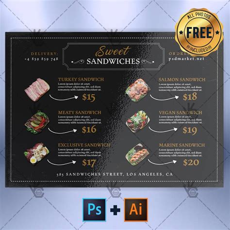 cafe menu a5 free menu psd ai template