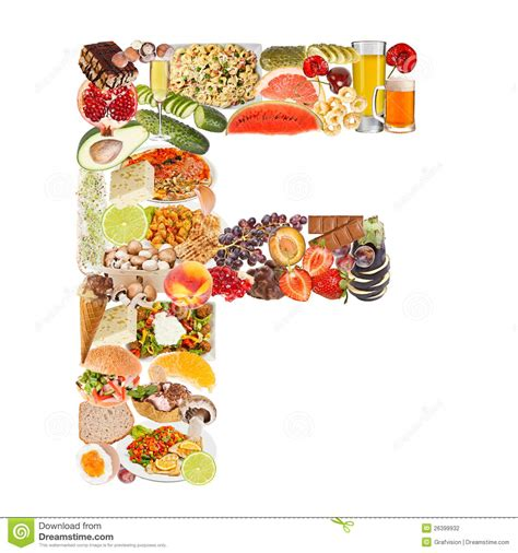 up letter with food letter f made of food stock photography image 26399932
