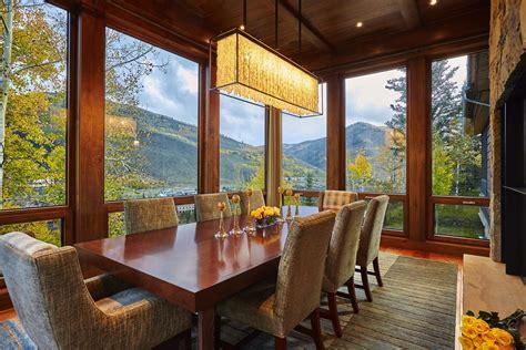cozy modern craftsman style dining room  window walls