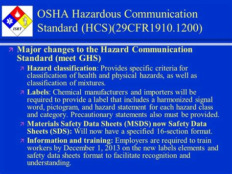 how many sections are on a 2012 hcs compliant sds globally harmonized system hazard communication ppt