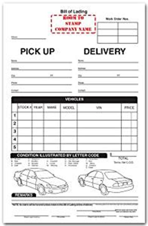 auto transport invoice template auto transport bill of lading blank
