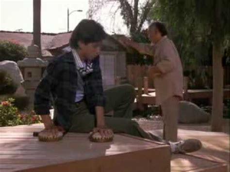 mr miyagi backyard lesson 2 sand the floor the karate kid video fanpop