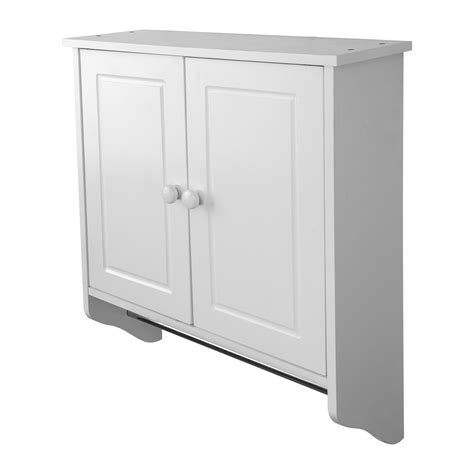 Towel Storage Cabinet Wall Mounted White Wooden Cabinet Doors Shelf Unit Towel Rail Bathroom Storage Ebay