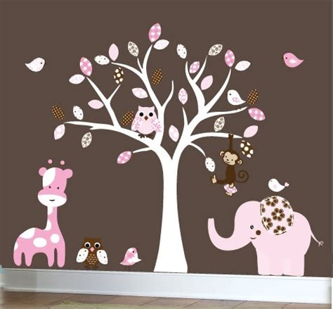 Nursery Jungle Wall Decals Pink And Brown Girls By Pink And Brown Nursery Wall Decor