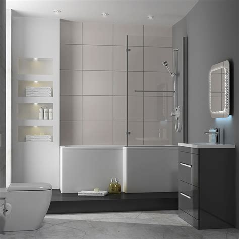 l shaped shower bath suite patello 60 grey l shaped shower bath suite buy at