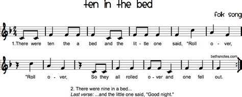 Ten In The Bed Lyrics by Ten In The Bed Beth S Notes