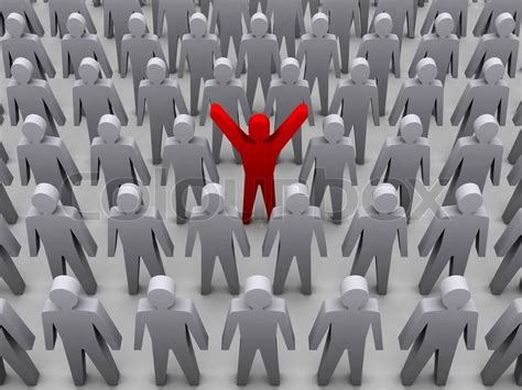unique photo unique person in crowd concept 3d illustration stock