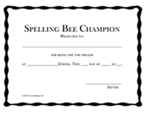 bee certificate template primary spelling bee template