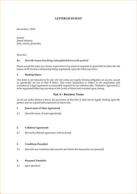 letter intent template budget template letter letter