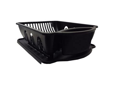 Black Sink Set Dish Rack Drainer Dry Counter Dishes Ample