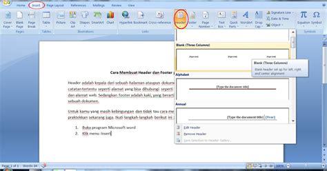 cara membuat halaman footer pada word cara membuat header dan footer pada microsoft word blog