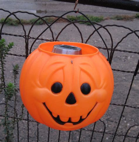 Pumpkin Solar Light Upcycled Halloween Solar By Treasureagain Pumpkin Solar Lights