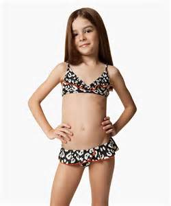 Girls age 2 to 12 years old in swimsuits