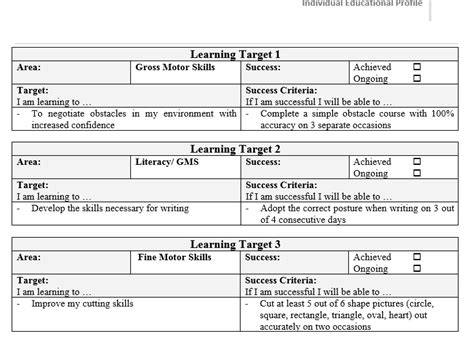 Sle Iep For Dyspraxia Mash Ie Simple Iep Template