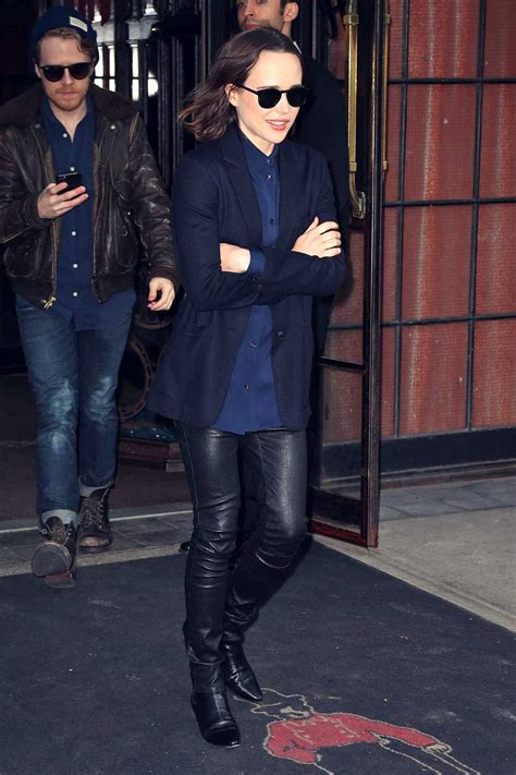 ellen page  spotted   bowery hotel leather